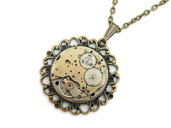 Steampunk Necklace Victorian Gothic Jewelry Vintage Watch Movement Steam Punk Necklace Mens Necklace Womens Necklace Unisex