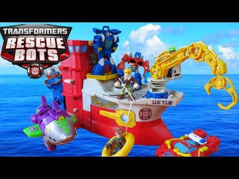 Playskool Heroes HIGH TIDE RESCUE RIG Rescue Bots TRANSFORMERS Playset Boat Sub