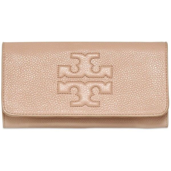TORY BURCH Thea Pebbled Leather Clutch - Black (515 CAD) ❤ liked on Polyvore featuring bags, handbags, clutches, purses, tory burch, pebbled leather handbag, tory burch purse, black handbags and flap handbags