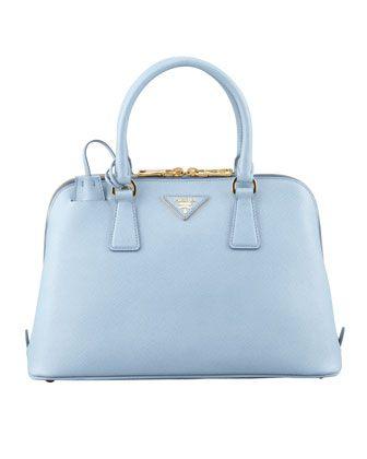 738e8398095 Saffiano Small Promenade Crossbody Bag, Blue by Prada at Neiman Marcus.