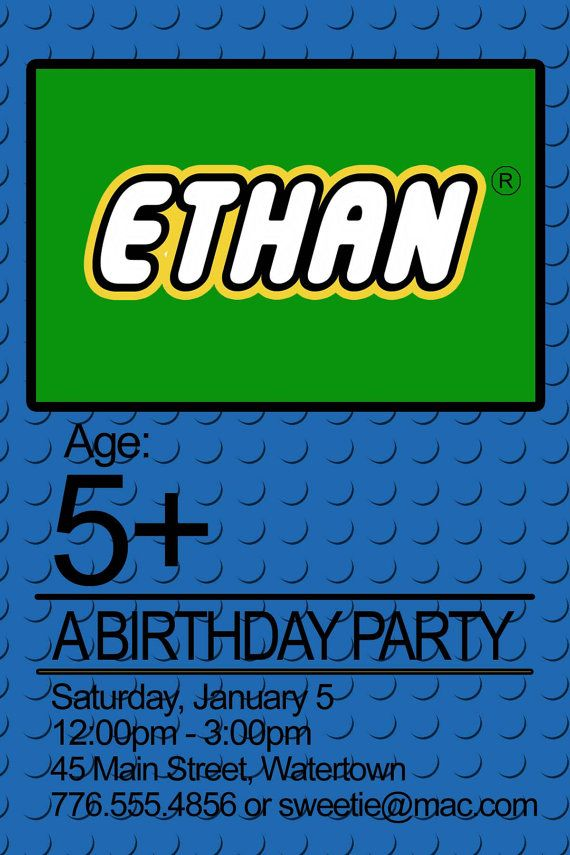 lego birthday party invitation PRINTABLE by tinyshopofrandoms ...