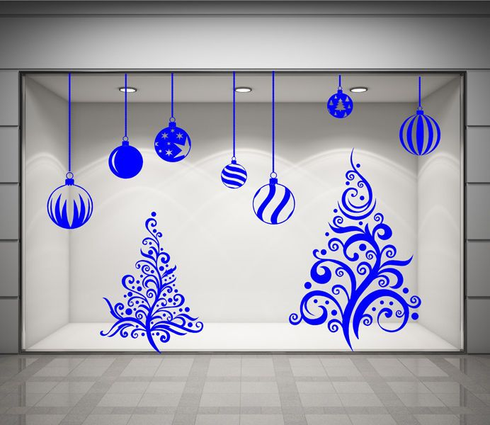 Christmas shop window sticker xmas tree wall stickers xmas baubles decals nn6 xmas baubles xmas tree and xmas