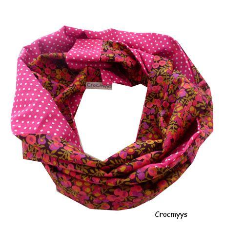 Tour de cou liberty wiltshire rose et fuchsia   Echarpe, foulard, cravate  par crocmyys ec81284432c