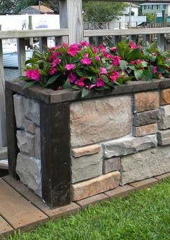How To Build An Easy Diy Stone Veneer Raised Planter Free Step By Step Instructions Www Diyeasycrafts Co Raised Planter Boxes Raised Planter Garden Boxes Diy