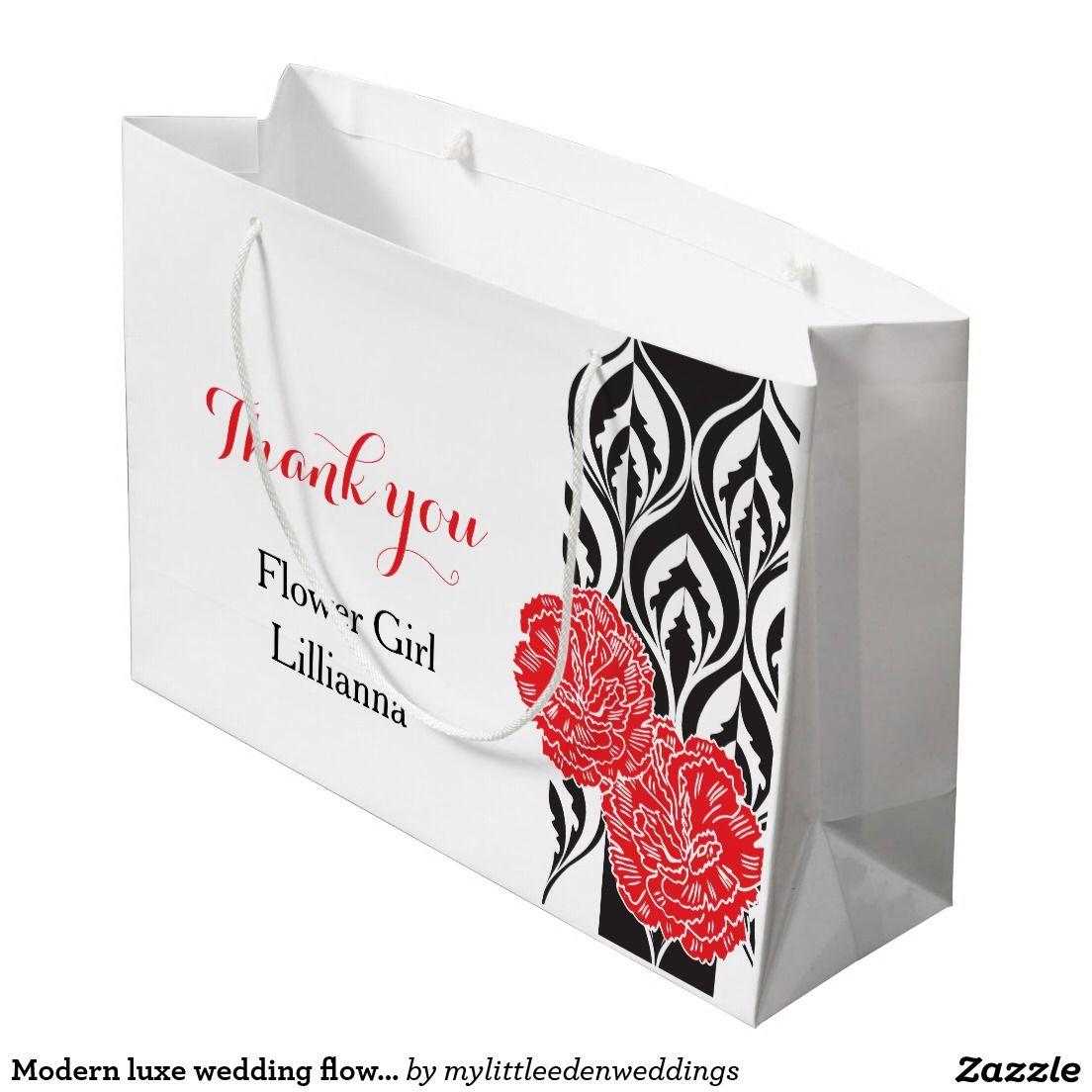 Modern luxe wedding flower girl favor gift bag large gift bag ...