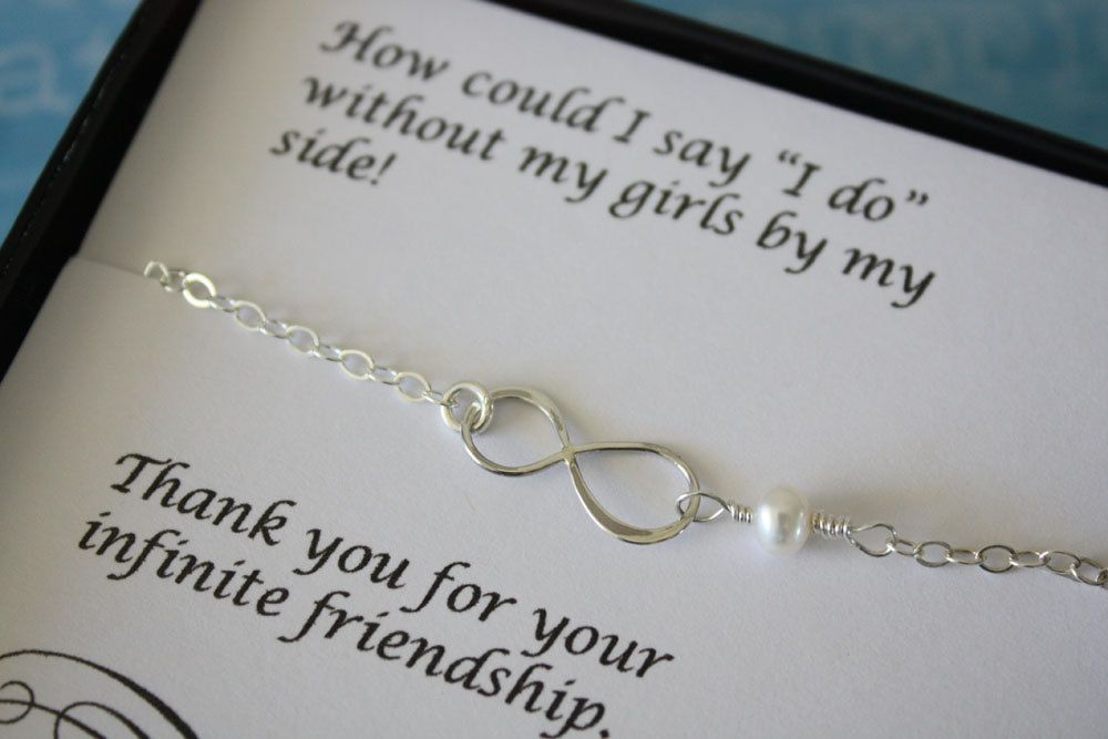 6 Silver Bridesmaid Infinity Bracelets Eternity Jewelry Gift Thank You Card White Pearl Sterling