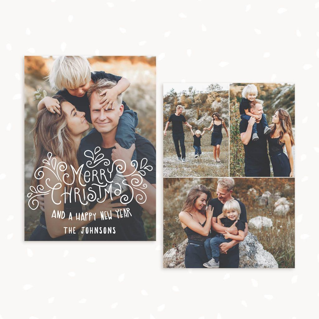 Photo Christmas Card Template Swirly Christmas Christmas Card Template Christmas Photo Card Template Custom Holiday Card