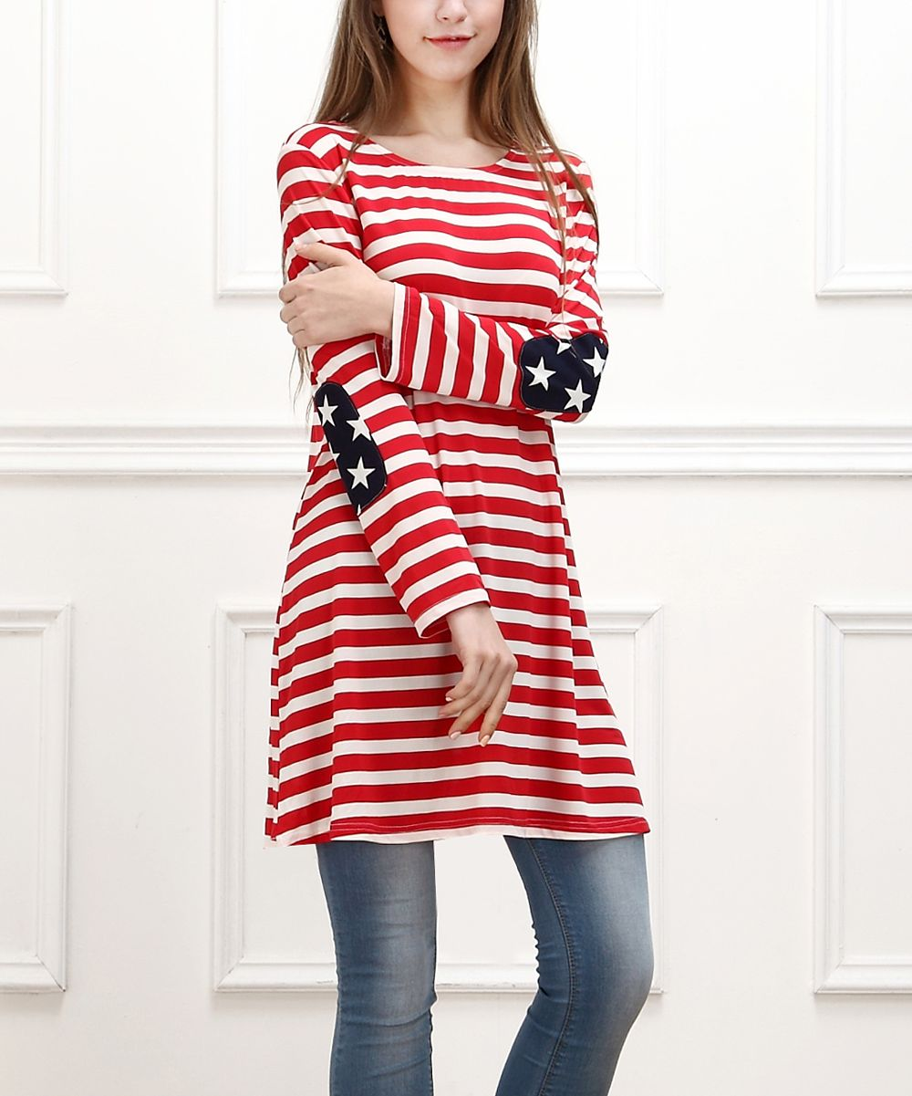 Reborn Collection Red & White Stripe Elbow-Patch Tunic | zulily