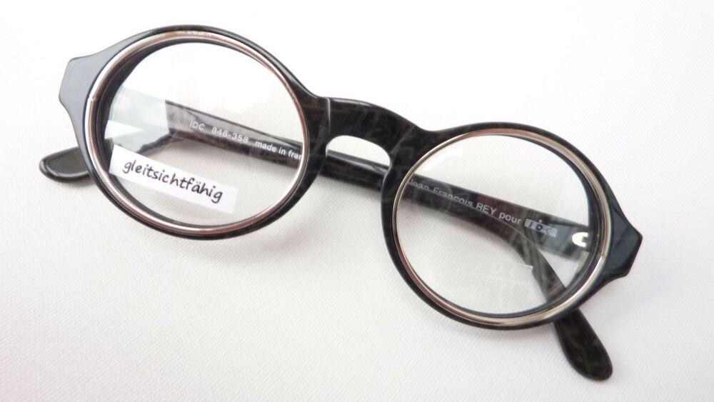 Brille Extrem Gestell Kunststoff Rand Rund Schwarz Silber Luxusmarke Idc Size M Kleidung & Accessoires