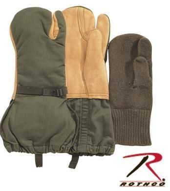 Genuine Army Gloves Fur Lined NEW Mittens Warm Mitts Trigger Winter Olive Green