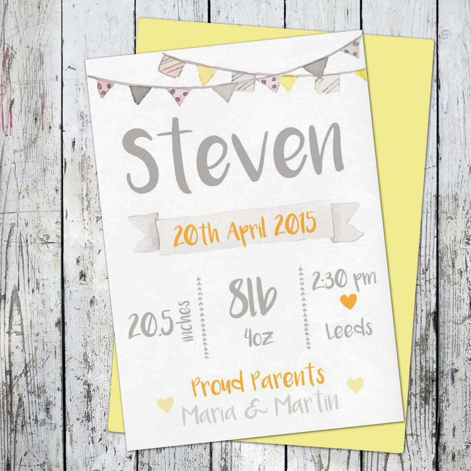 Watercolor birth certificate baby info board announcement birth watercolor birth certificate baby info board announcement nusery poster made to order printable baby room baby shower aiddatafo Images