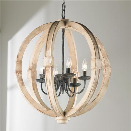 Distressed Wood Sphere Chandelier | Outdoor chandelier, Distress ...
