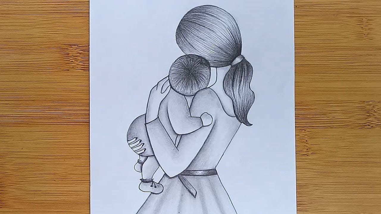 How to Draw Mother with Baby - Mother's Day Drawing ...