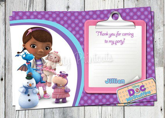 Doc McStuffins Thank You Card Printable Dr Mc Stuffins Birthday Party Cards Print