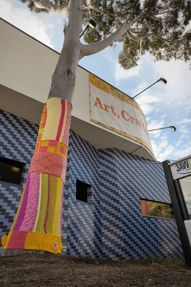Yarn Bombing at 2012 Royal Melbourne Show Art, Craft & Cookery Pavilion #yarnbombing #DIY #royalmelbourneshow