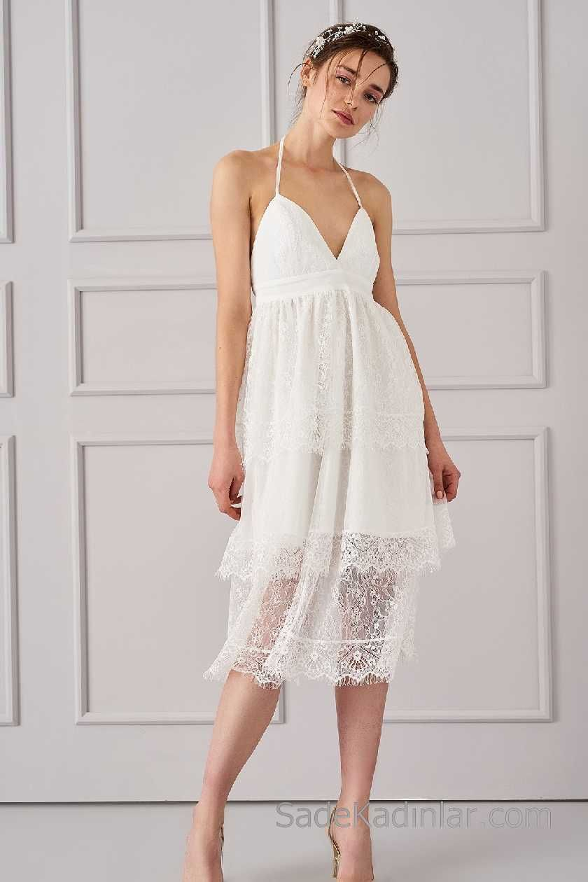 2018 Beyaz Elbise Modelleri Ince Askili Gupur Dantel Etekli Elbise Modelleri Elbise Moda Stilleri