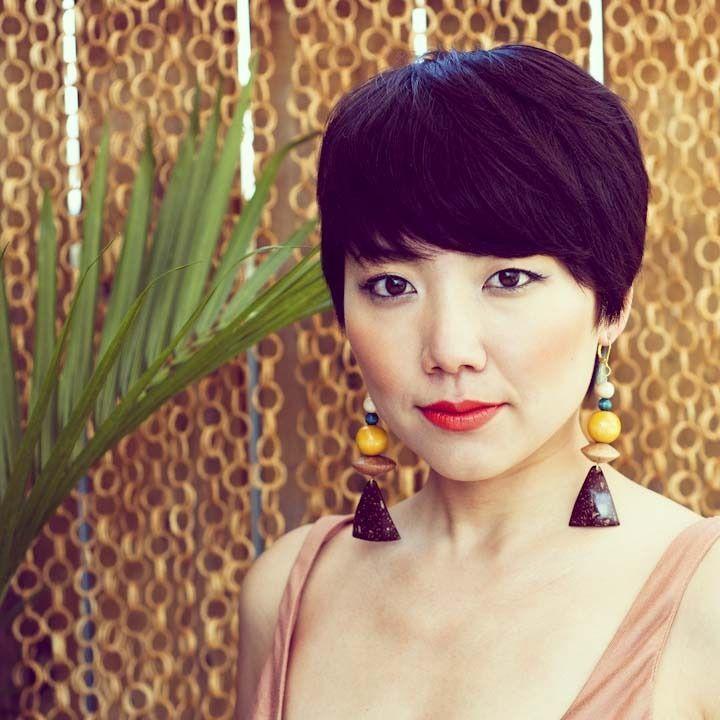 short hair and big earrings are an interesting combo, ri ...