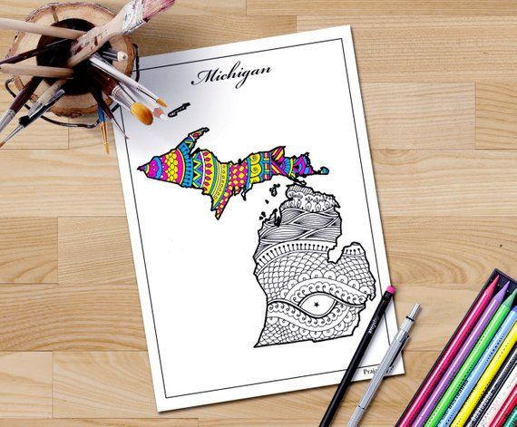 Michigan Map Coloring Page Coloring Page For Adult Map Adult