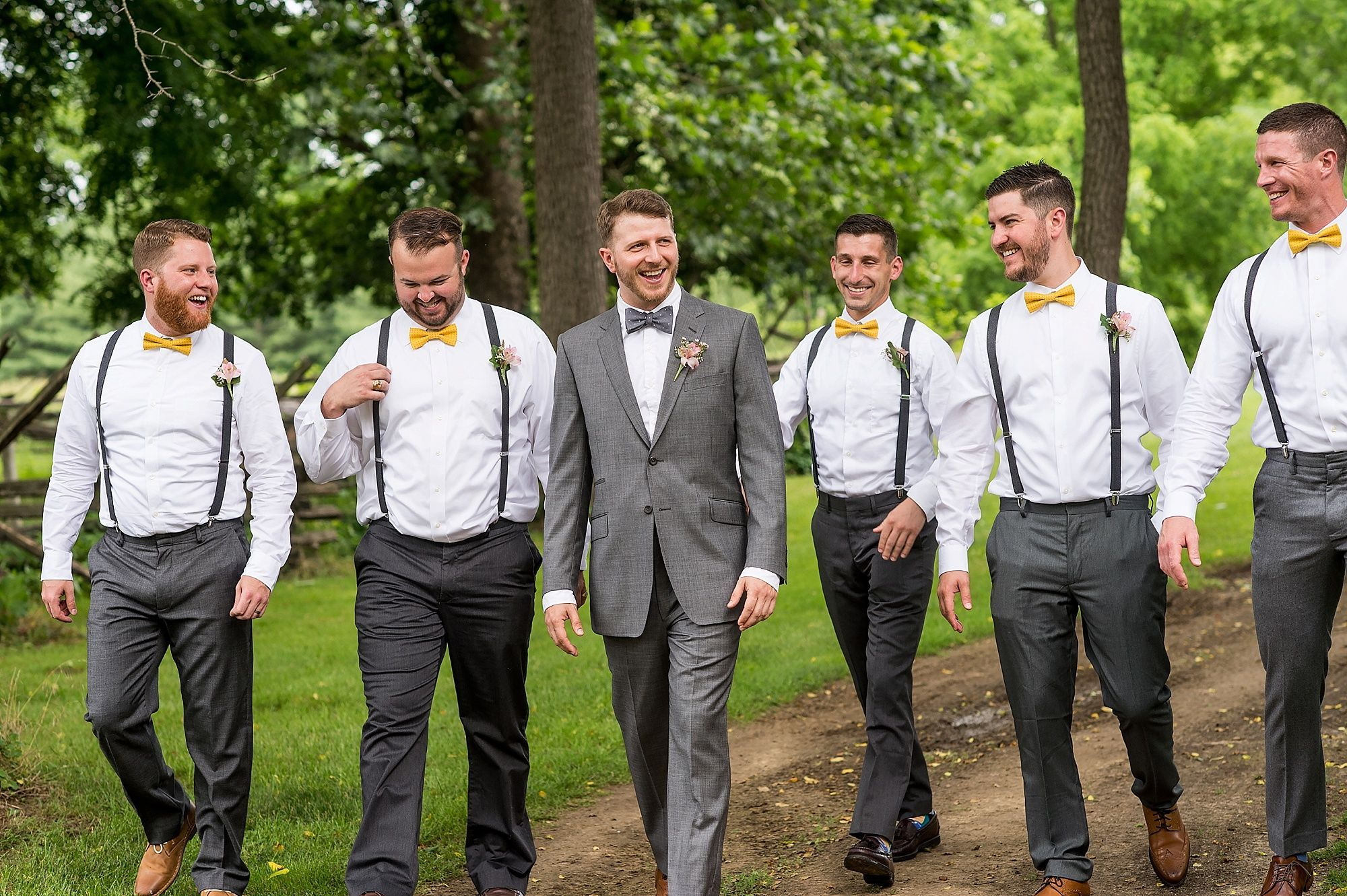 Groomsmen Suspenders And Yellow Bow Ties Groomsmen Attire Suspenders Groomsmen Suspenders Suspenders Wedding Groomsmen