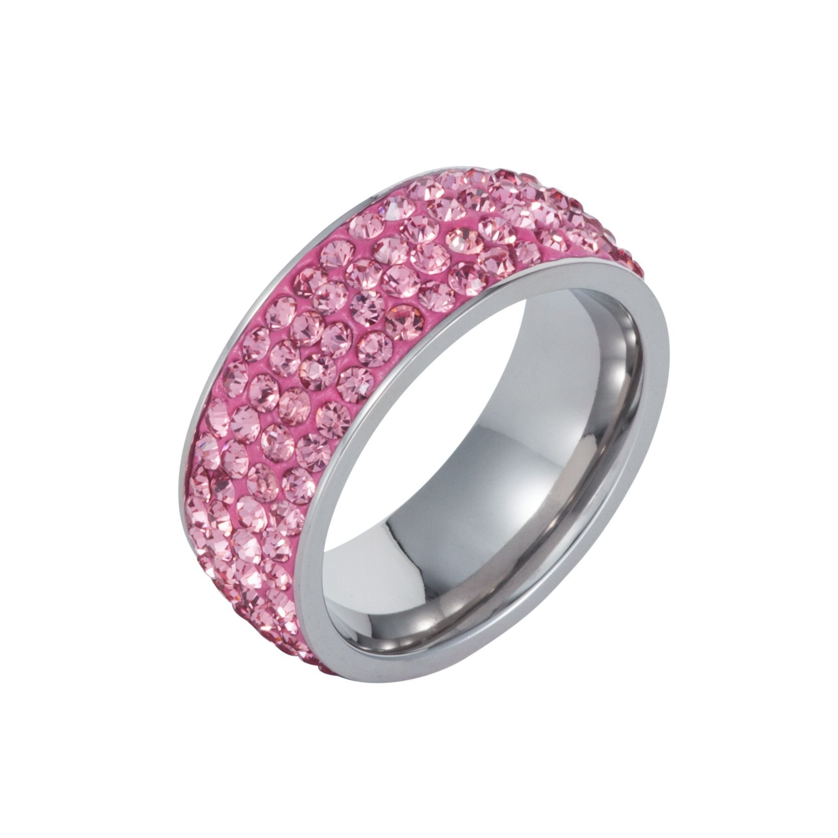 Aurora Flash Stainless steel cubic zirconia pink ring, Pink Buy for ...
