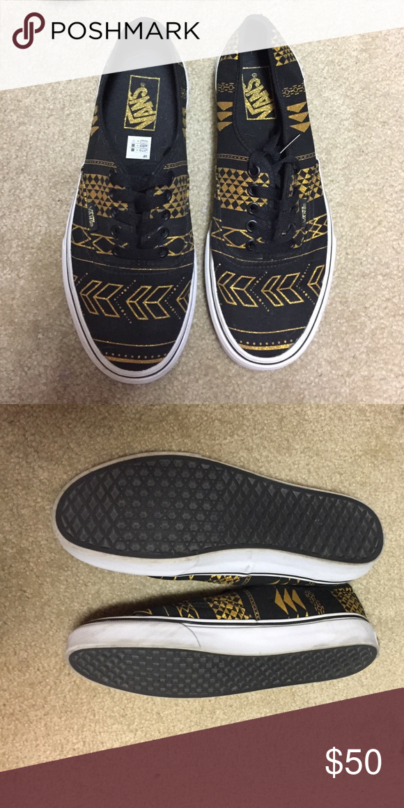 051788e26c Black and gold tribal print vans Adorable!! Worn 3 times. Vans Shoes  Sneakers