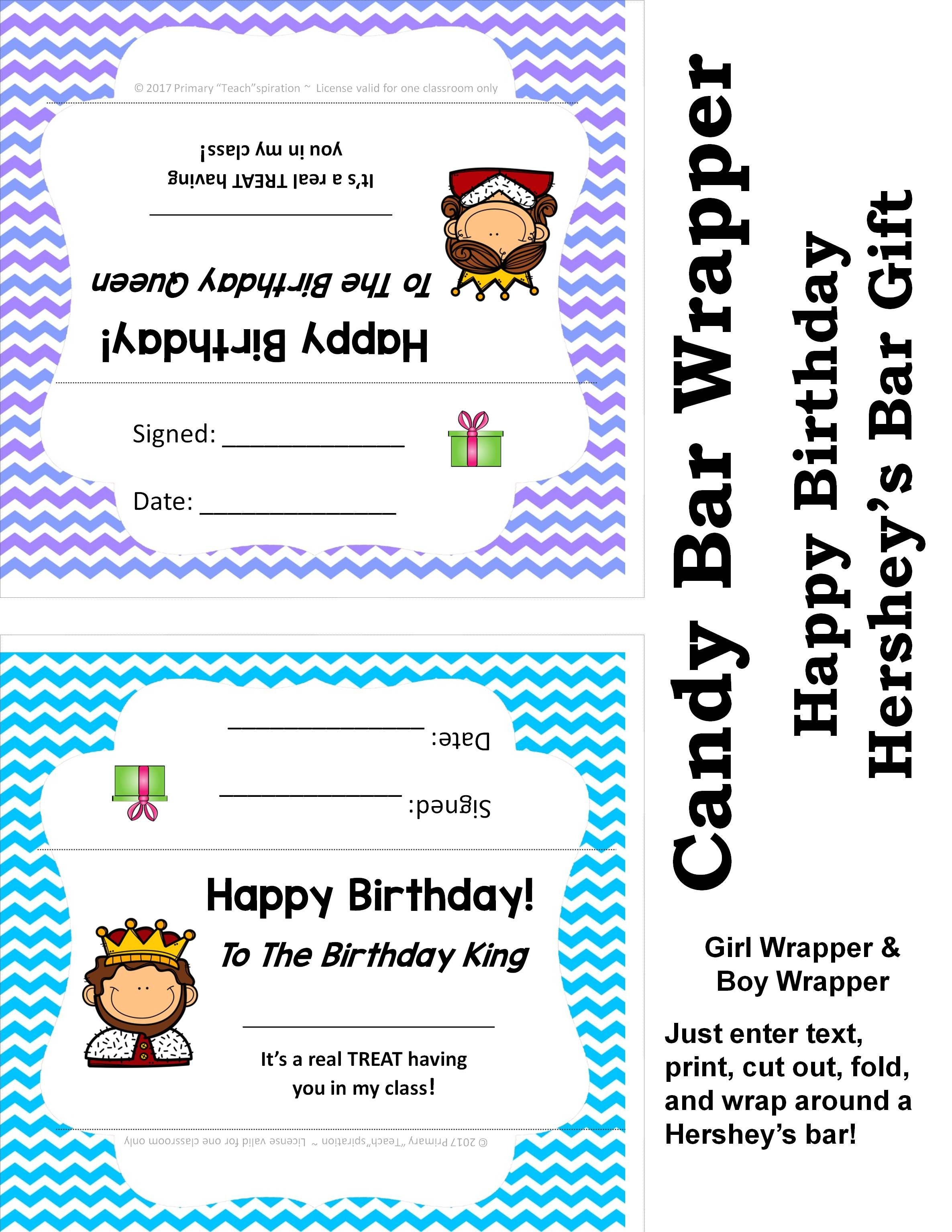 Happy Birthday Candy Bar Wrappers Free