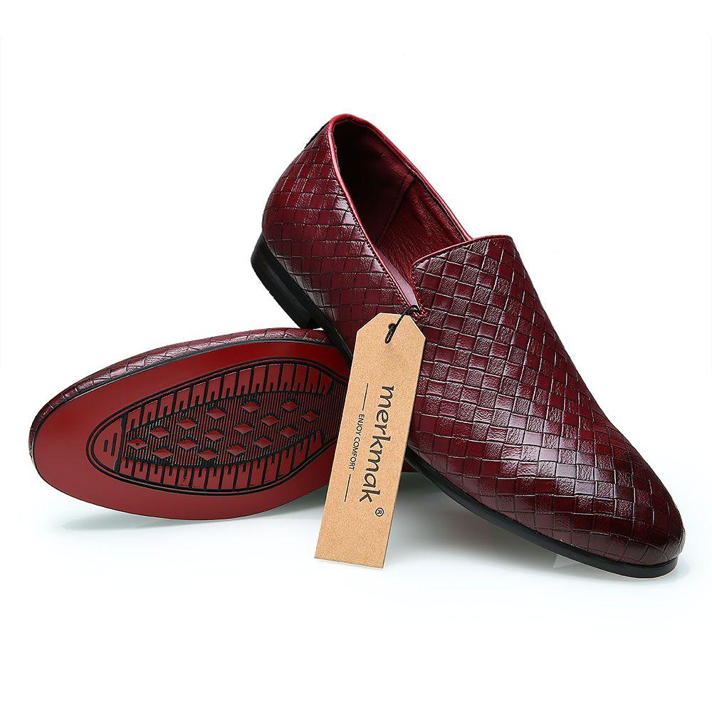 Merkmak 2017 Men Shoes luxury Brand Braid Leather Casual