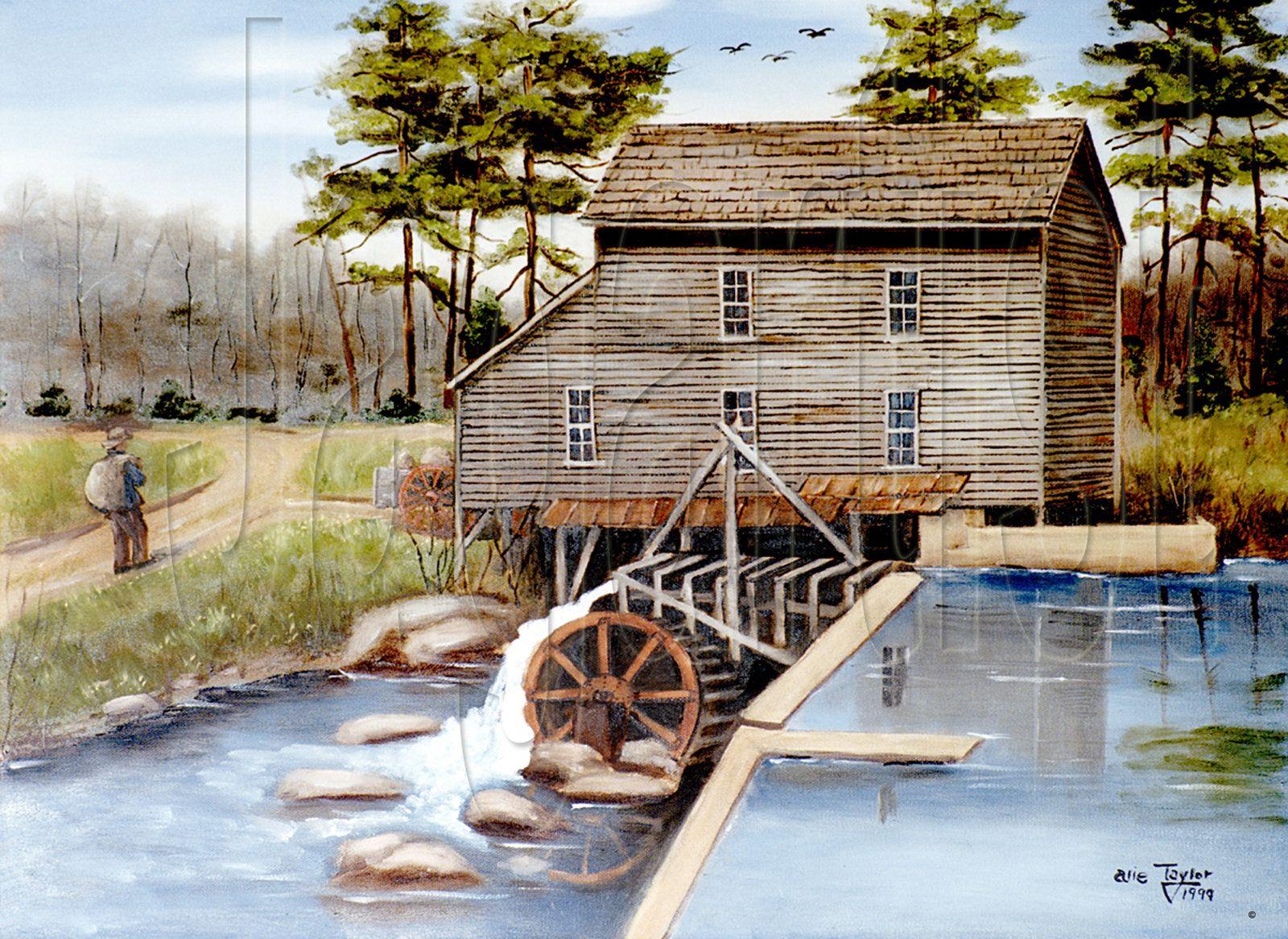 Folk art prints howards creek grist mill lincolnton
