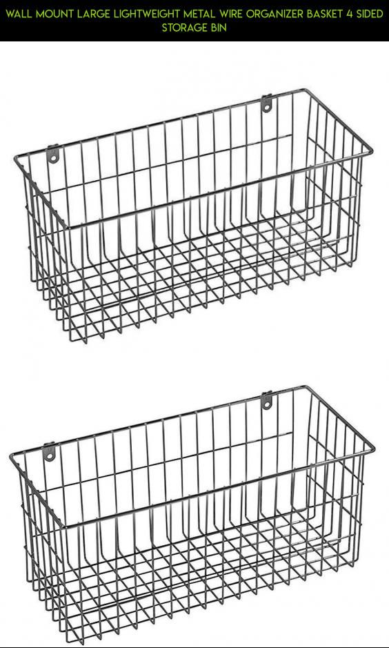 Wall Mount Large Lightweight Metal Wire Organizer Basket 4 Sided ...