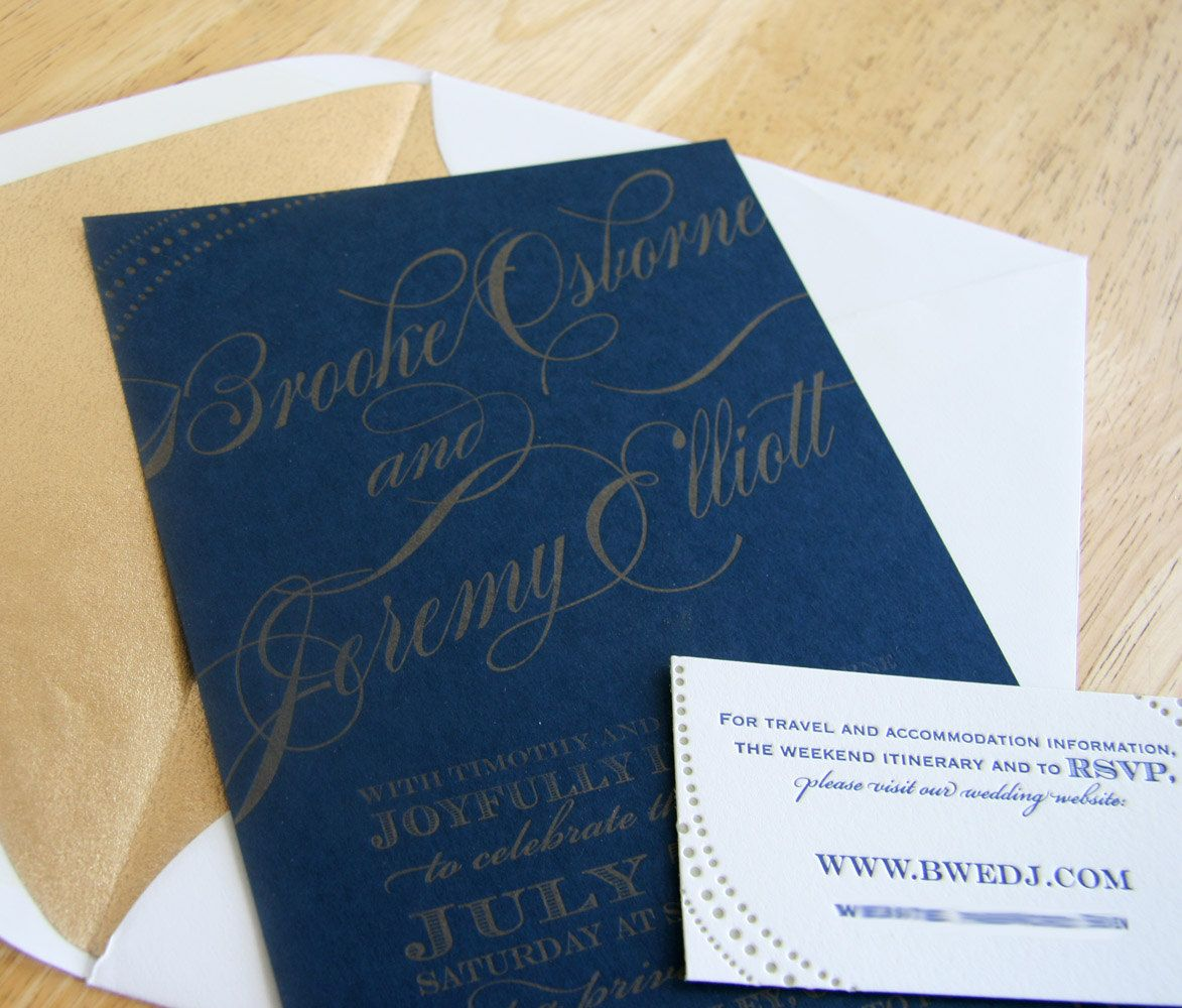 Custom letterpress wedding Invitation - Navy and Gold. $10.00, via ...