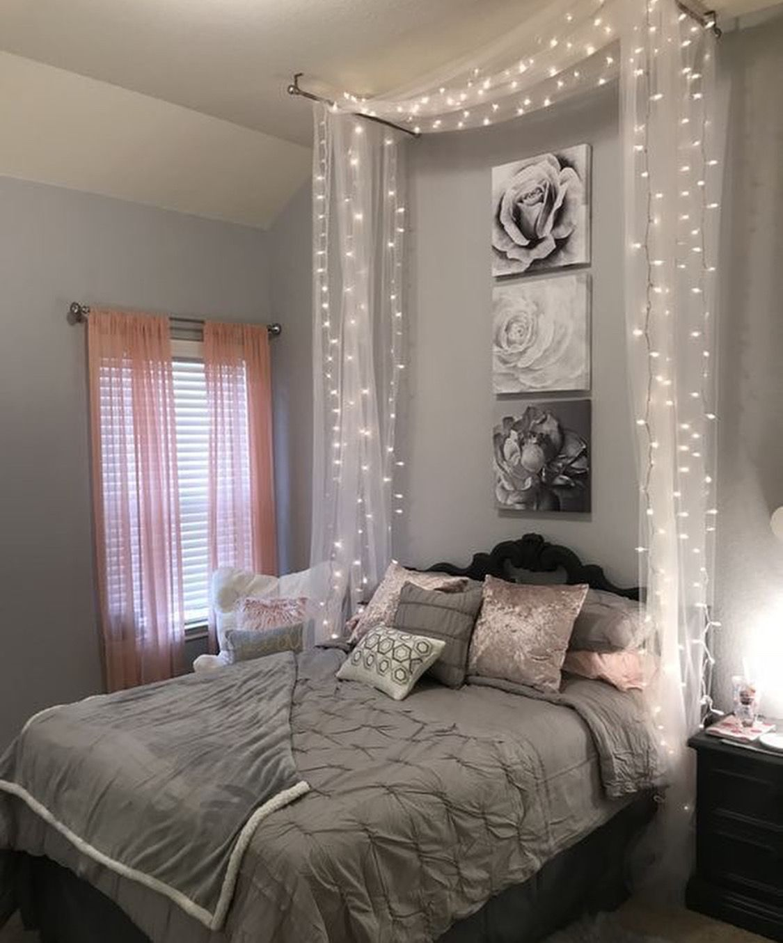Framed Rose Prints Hanging Tulle With Lights Sheer Curtains At The Windows Relaxing And In 2020 Small Bedroom Ideas On A Budget Small Room Bedroom Bedroom Makeover