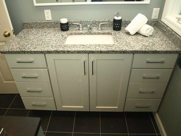 Etonnant Semi Custom Vanity   White Shaker Doors With Granite Top Contemporary  Bathroom