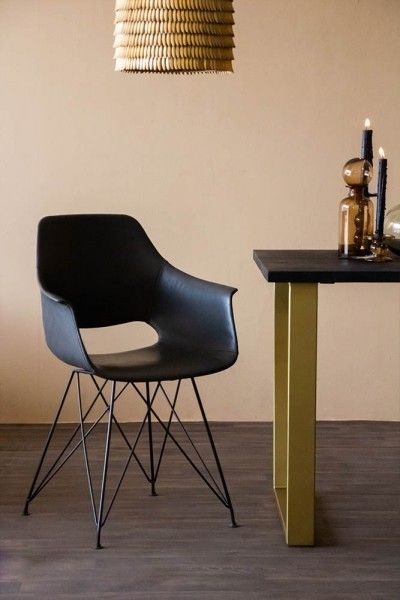 Faux Leather Dining Chair With Black Hairpin Legs - Charcoal Grey (With images) | Leather dining ...