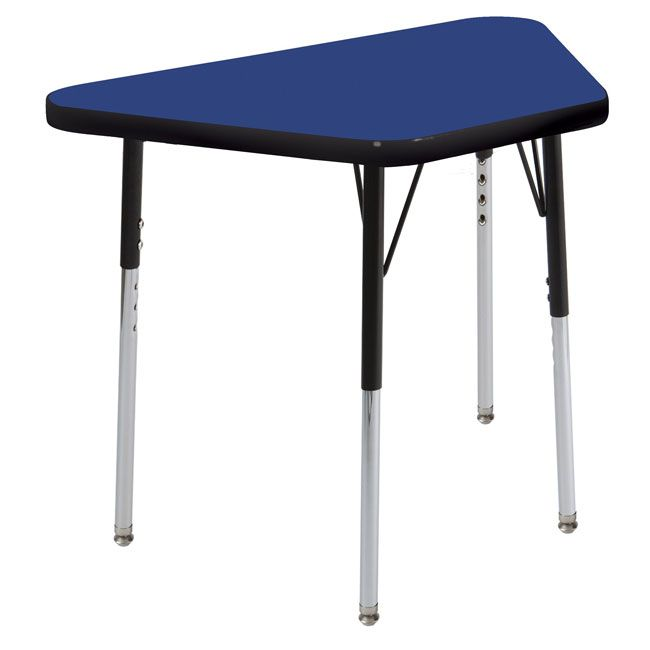 Standard Legs w// Swivel Glides Adjustable Height 19-30 inch ECR4Kids Mesa Thermo-fused 24 x 48 Rectangular School Activity Table Maple//Navy
