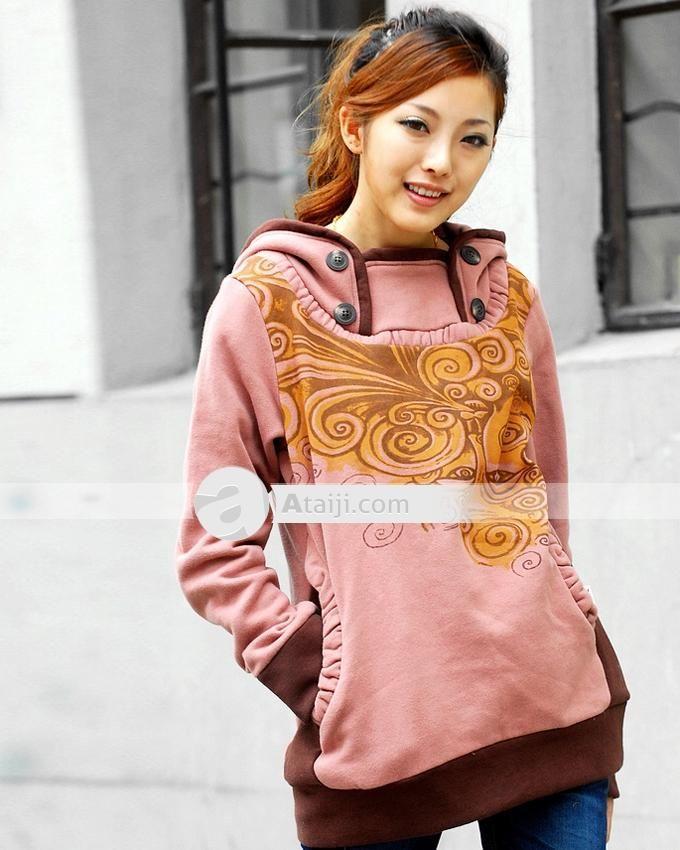 YiHaoLiangCang botones de manga larga sudaderas con capucha de la Mujer