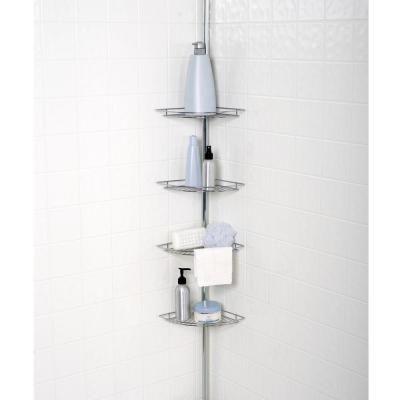 Zenna Home Metal Tension Mount 4 Shelf Pole Shower Caddy In Chrome