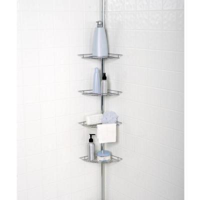 Zenna Home Metal Tension Mount 4 Shelf Pole Shower Caddy In Chrome