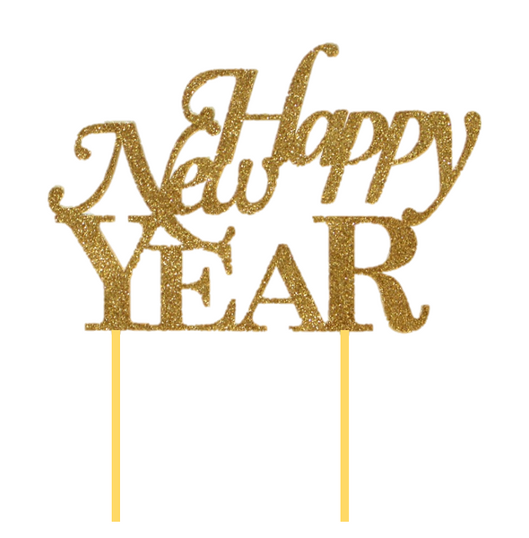 Gold Happy New Year Cake Topper 1pc Happy New Years Eve New Year S Cake Happy New Year Message