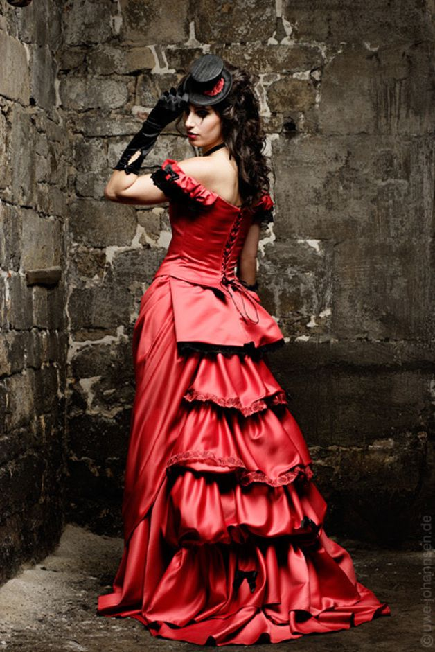 Helena a red Vampires dream wedding gown, a Victorian