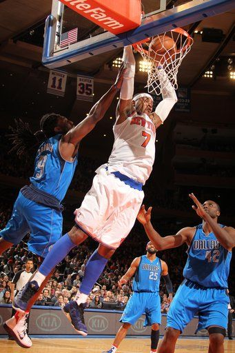 knicks carmelo anthony dunk vs mavericks sports