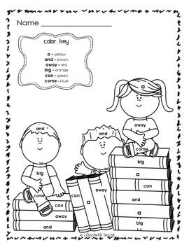 sight word coloring back to school themed kindergarten and first grade my tpt store products. Black Bedroom Furniture Sets. Home Design Ideas