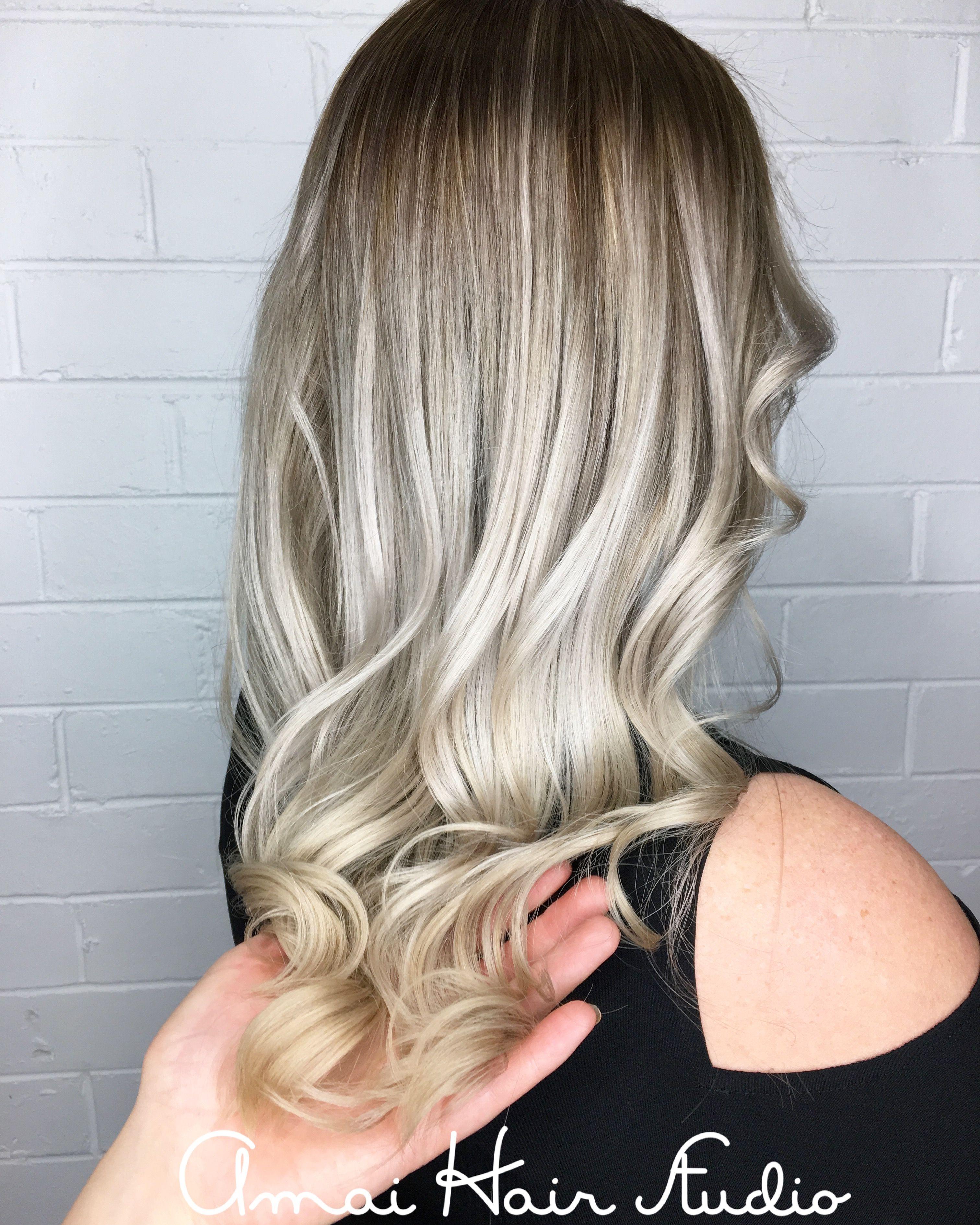 White blonde hair ombre shadow root amai hair studio