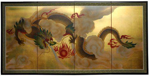 Great Chinese Lunar Asian Graduation Gift Idea 36 X 72 Sky Dragon Gold Leaf Wall Art Screen Oriental Furniture Hand Painted Wall Art Asian Home Decor
