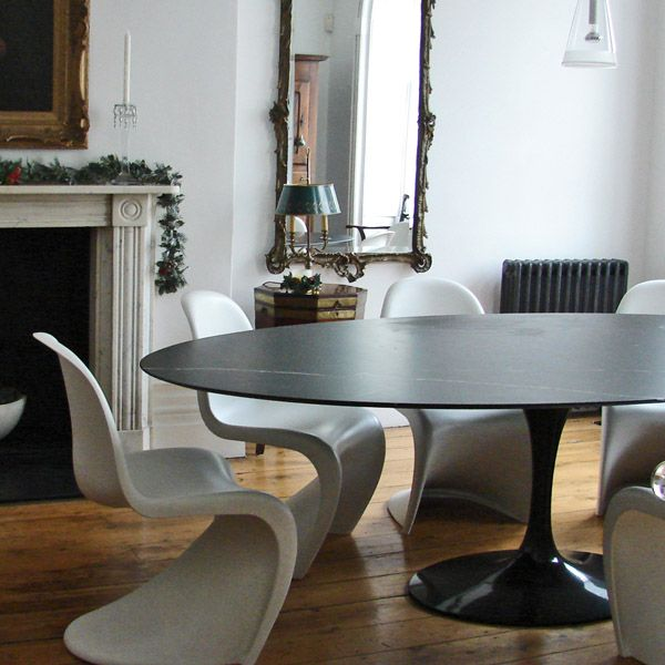 Knoll eero saarinen oval dining table black marble top for Room and board saarinen table