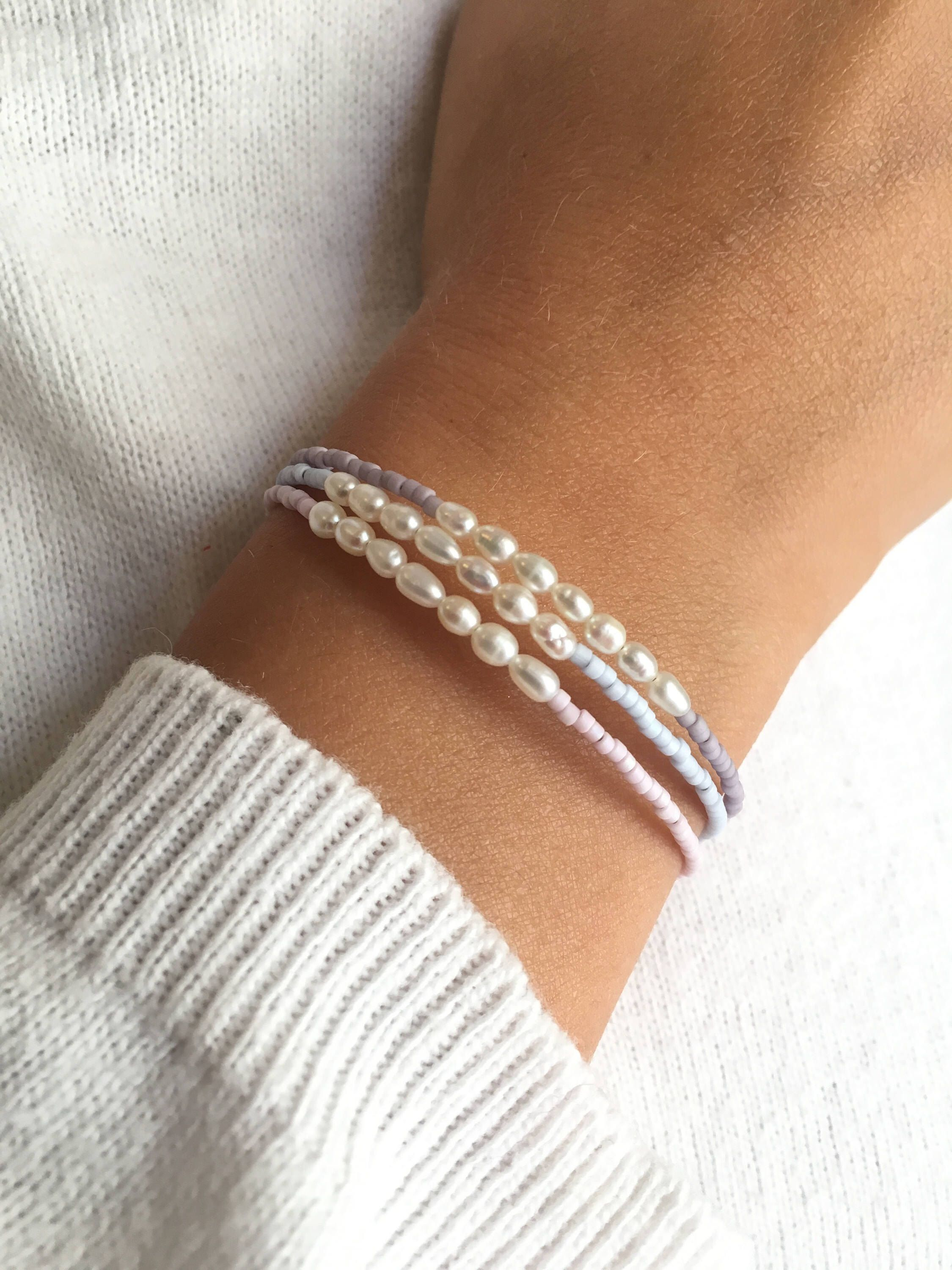 Freshwater Pearl Beaded Bracelet avec diamants en argent sterling et or 14K