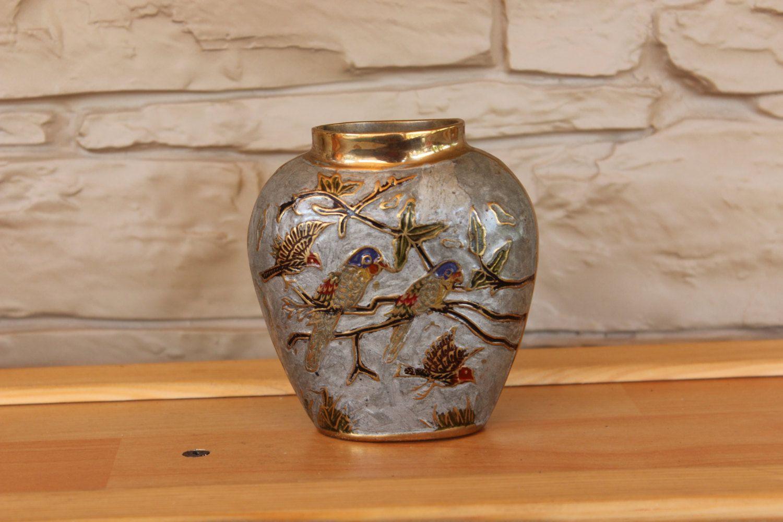 Antique asian embossed enamel brass vase hand painted metal vase antique asian embossed enamel brass vase hand painted metal vase home decor reviewsmspy