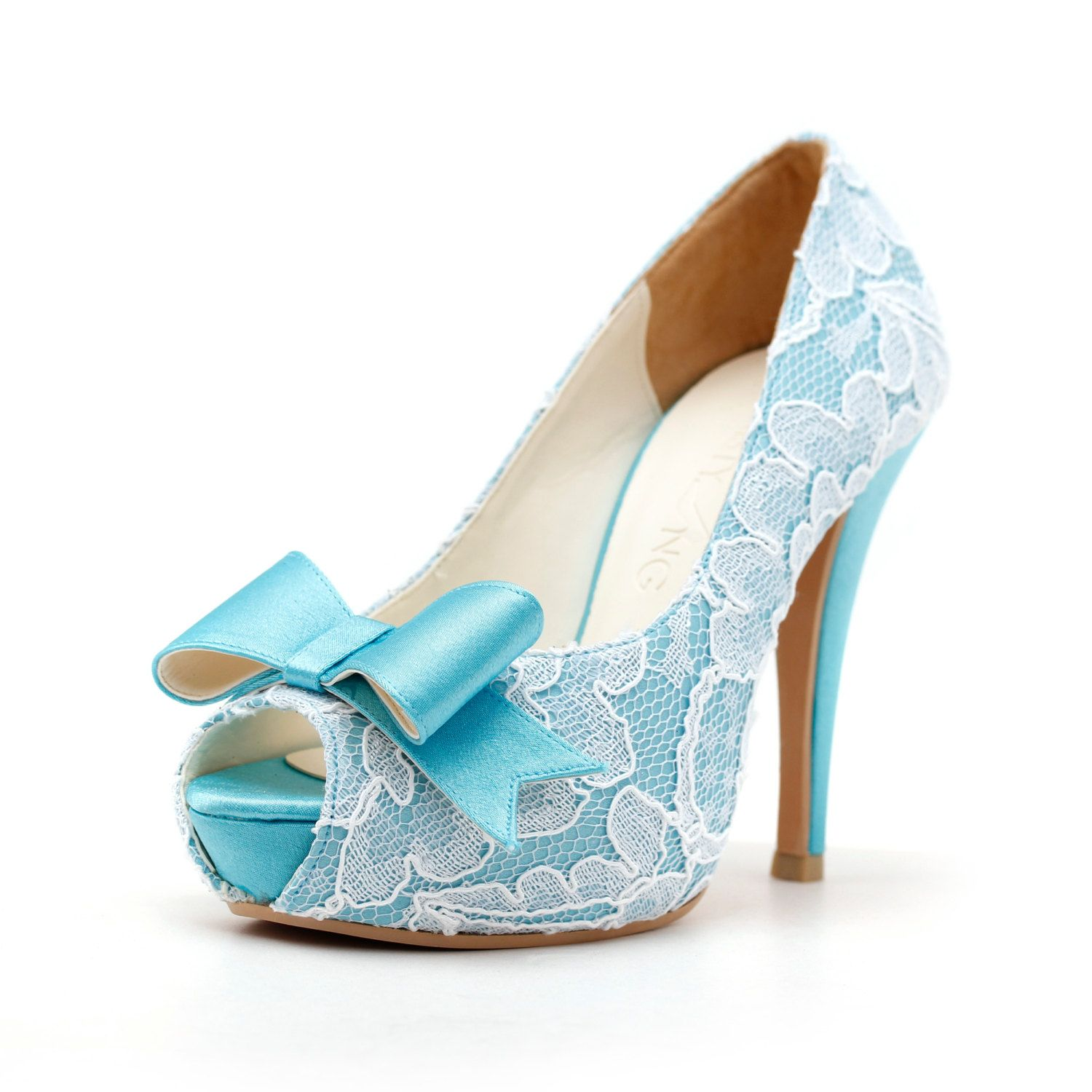 Custom Made Wedding Heels, Sky Blue Lace Wedding Heels with Front ...