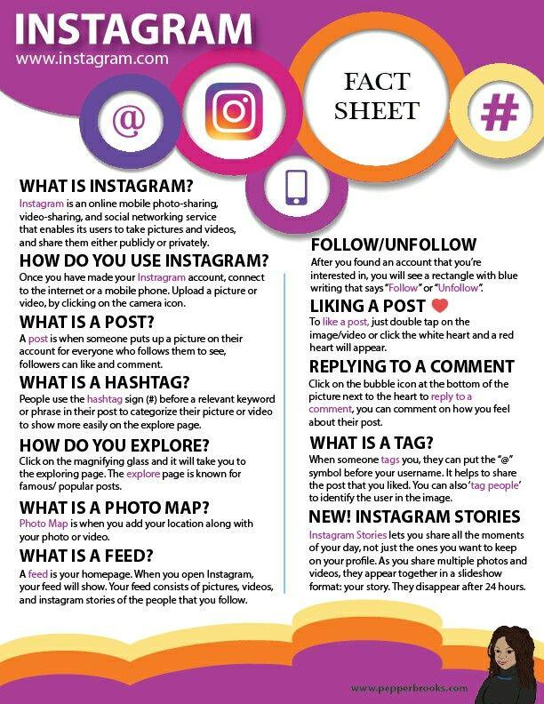 Instagram for Beginners (Information Sheet)  #Instagram #Instagram101 #Socialmedia #InformationSheet #freeprintable #freedownload