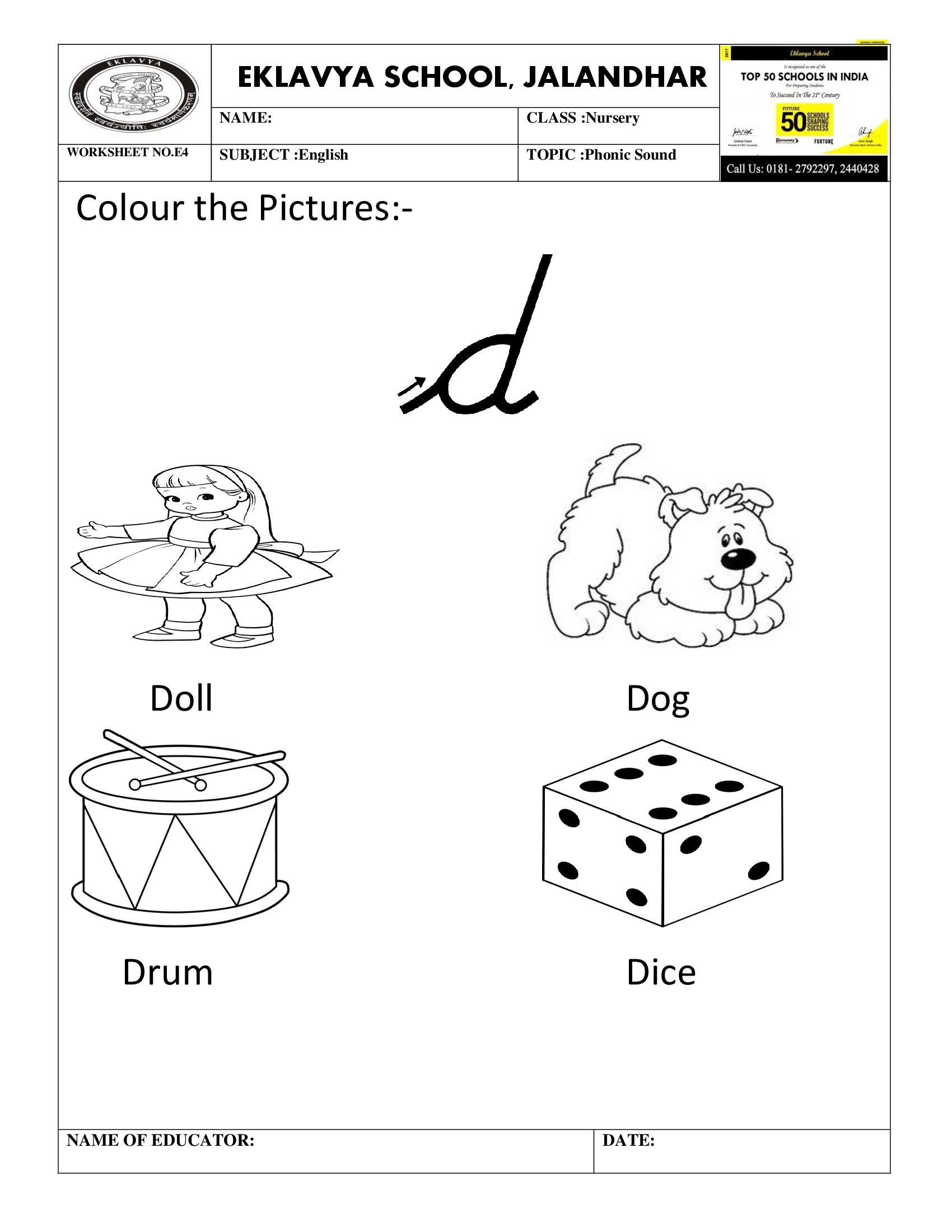 Worksheet On Phonic Sound D