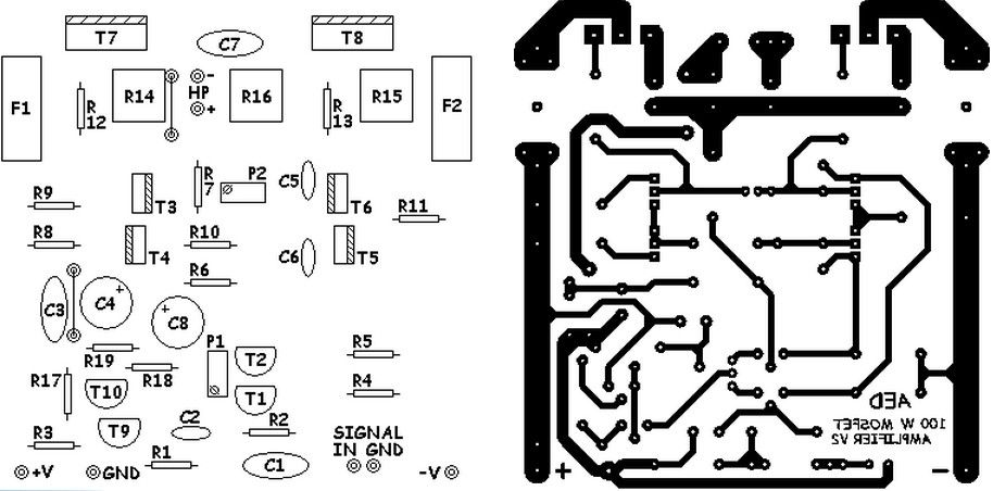 basic mosfet amplifier pcb 300x148 100w basic mosfet